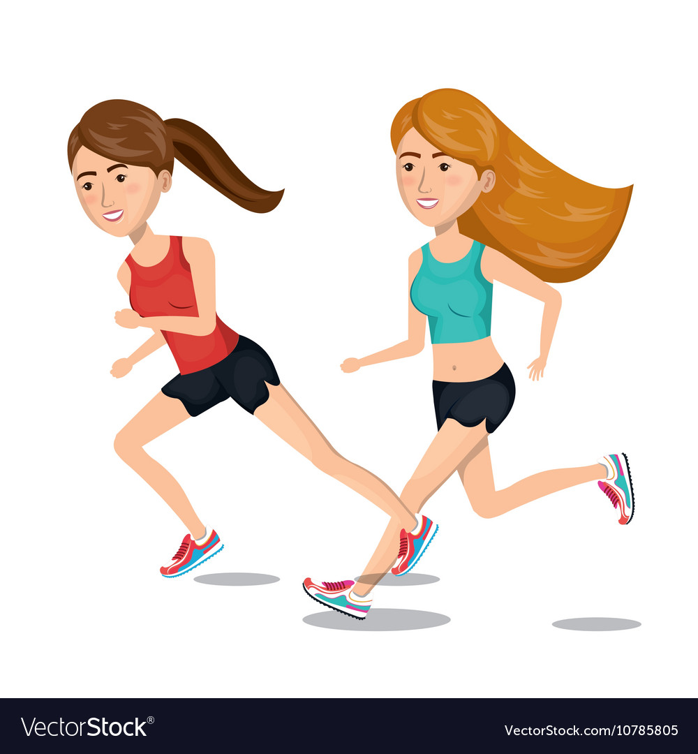 Two Girl Cartoon Running Jogging Icon Graphic Vector Image