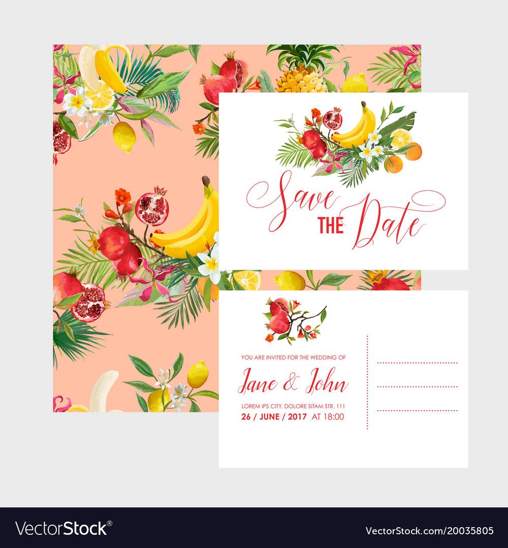 wedding invitation template set tropical fruits vector image