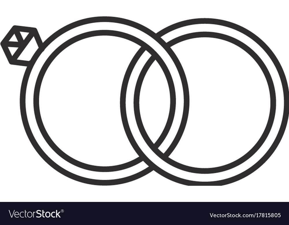 Wedding rings line icon sign