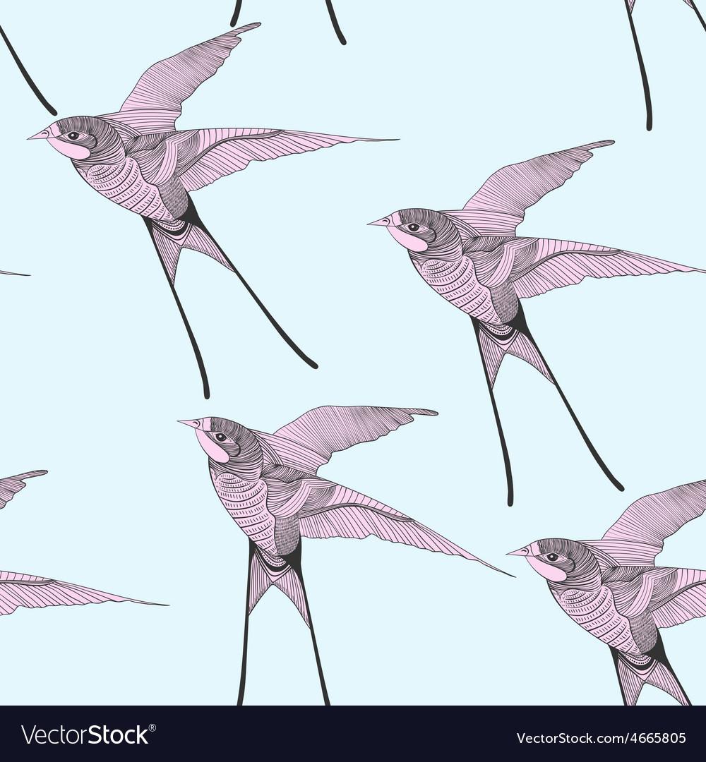 Zentangle stylized swallow seamless pattern Hand