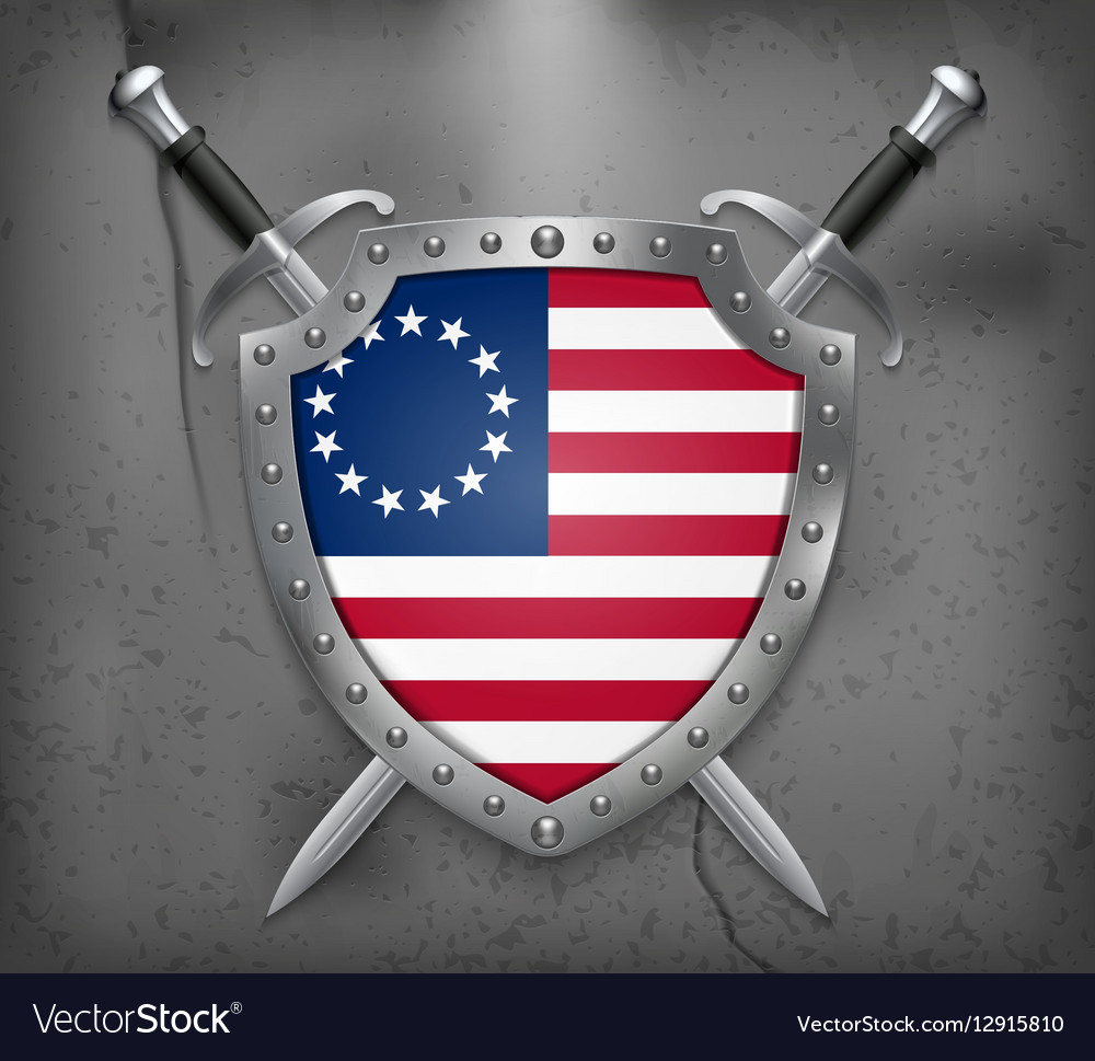 American Betsy Ross Flag Medieval Background