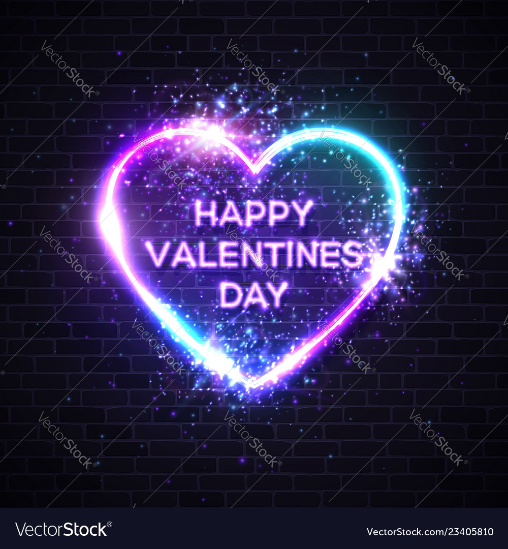 Happy valentines day background with neon text