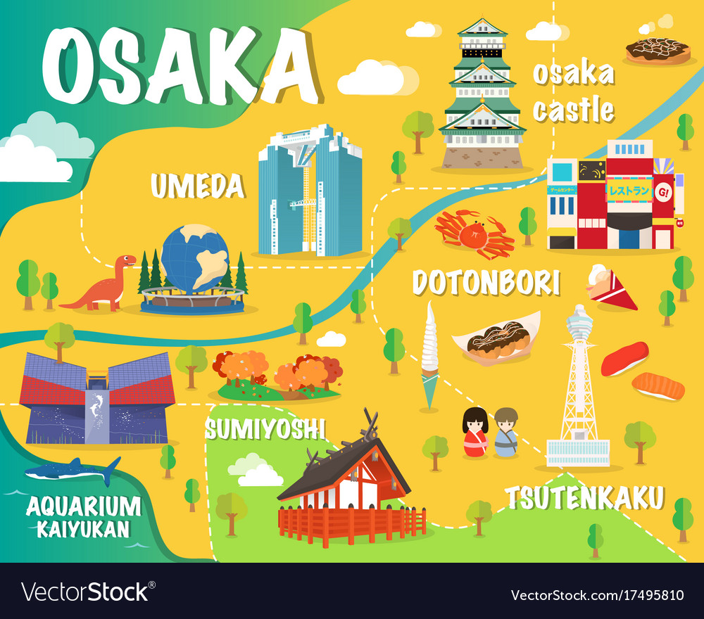 Osaka map with colorful landmarks japan design Vector Image