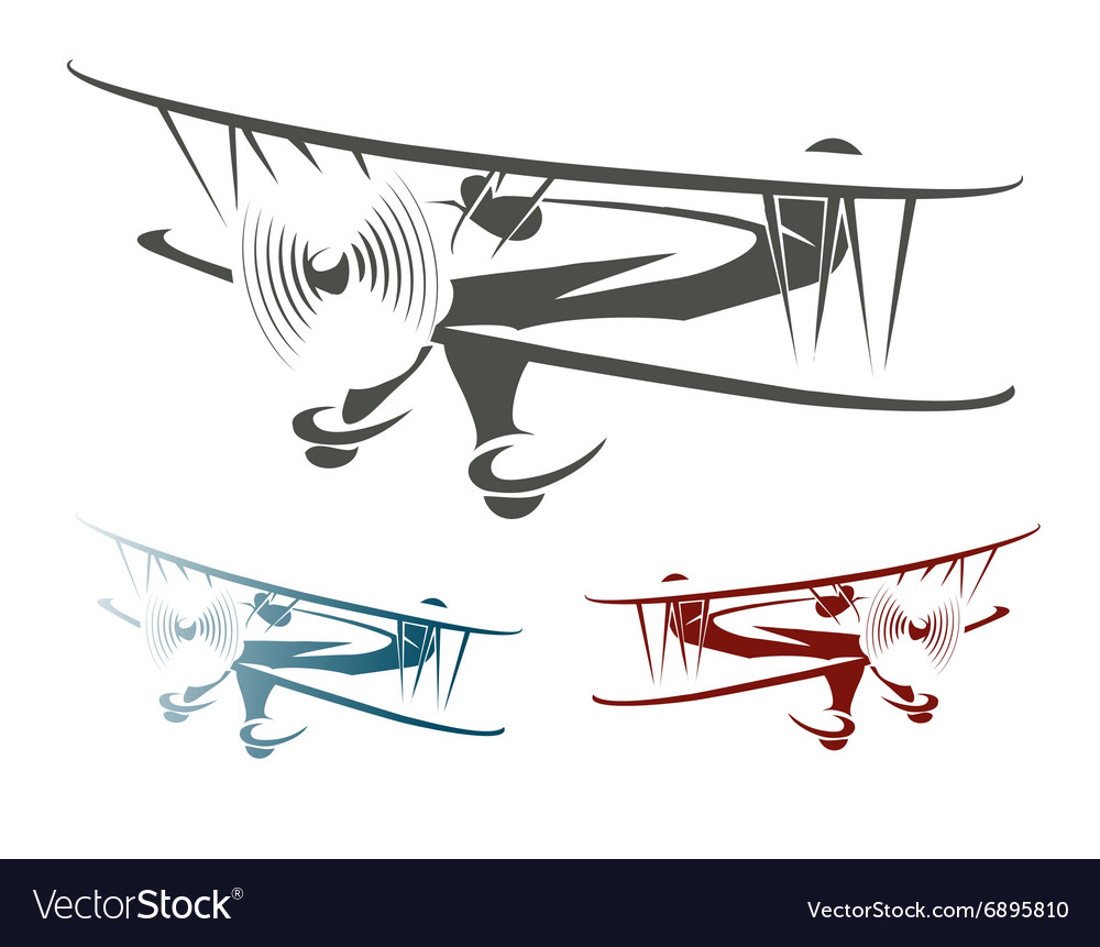 Retro Airplane Emblem Set vector image