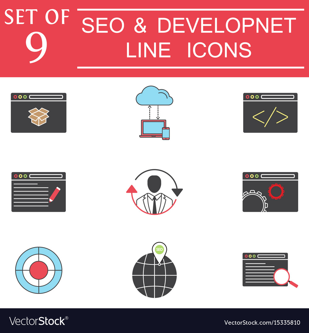 Seo and development colorful icon set business vector image