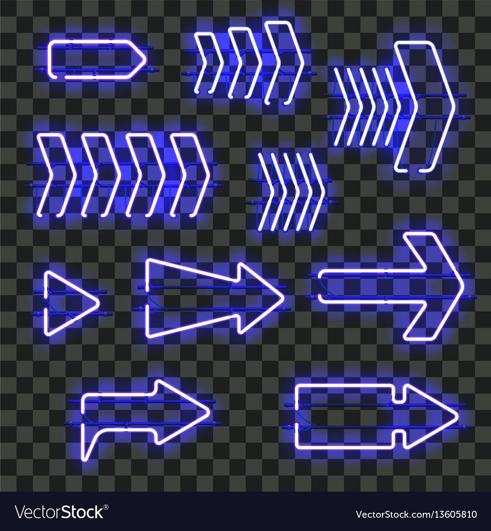 Set of glowing blue neon arrows