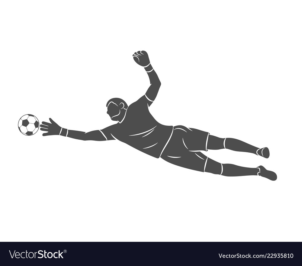 Silhouette football goalkeeper is jumping for the