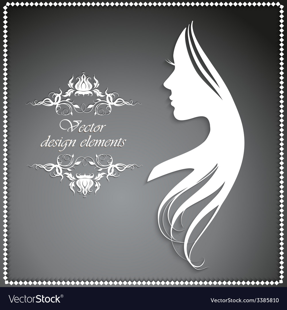 Silhouette of a girl with long hair and beautiful