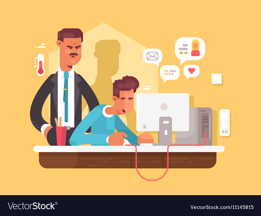 Boss looks employee vector image