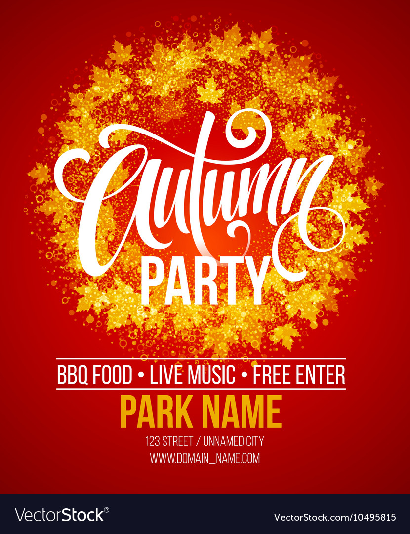 Fall Party Template for Autumn poster banner