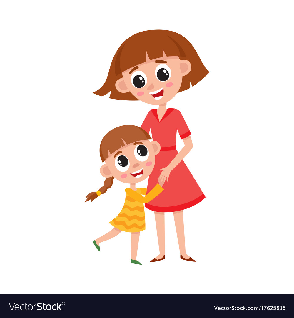 flat cartoon mother and daughter hugging vector image rh vectorstock com hugging cartoon drawing hugging cartoon pictures
