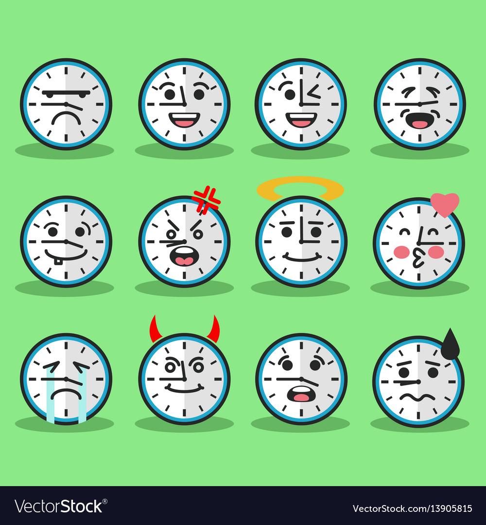 Flat clock emojis