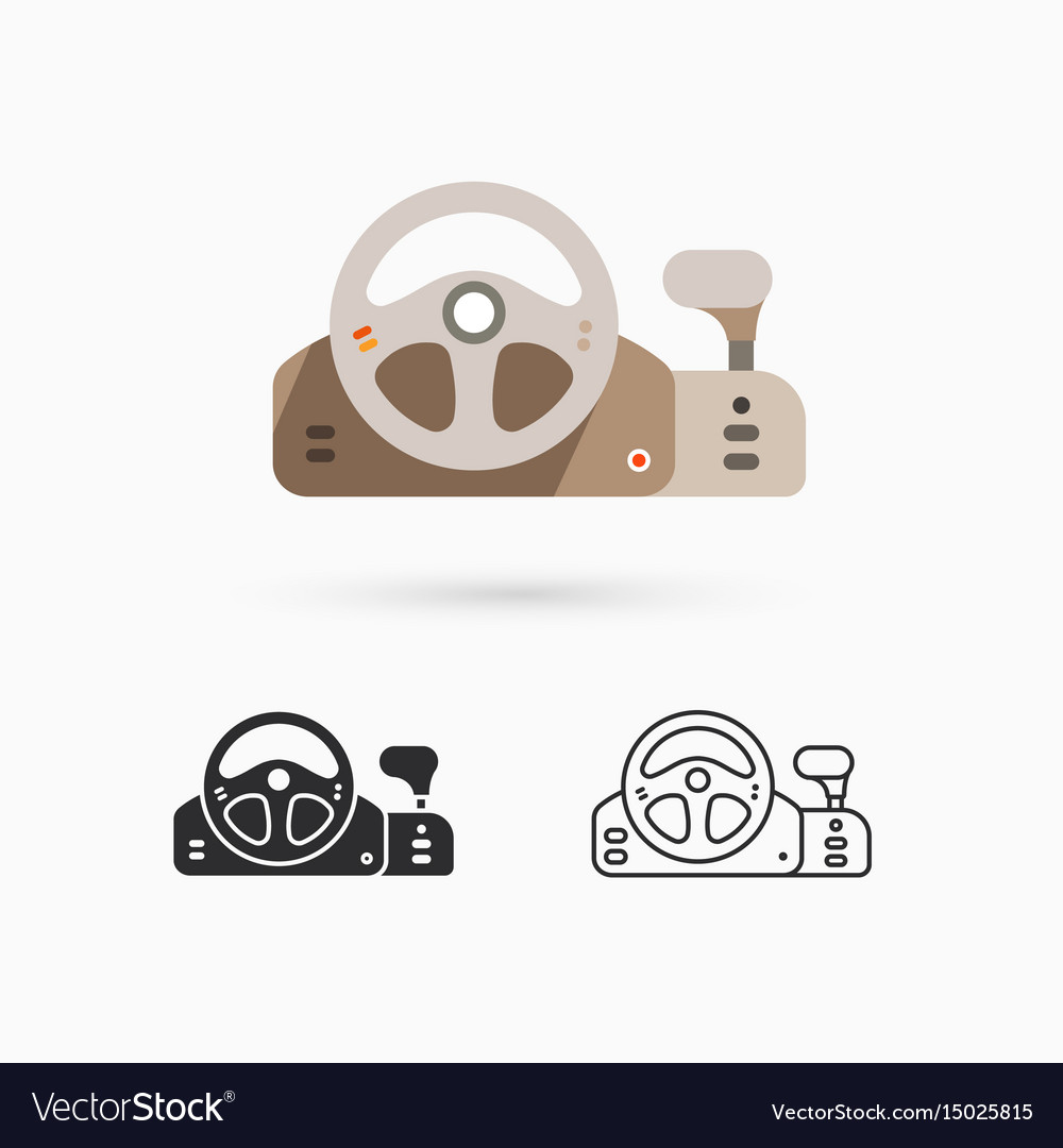 Game controller - steering wheel vector image