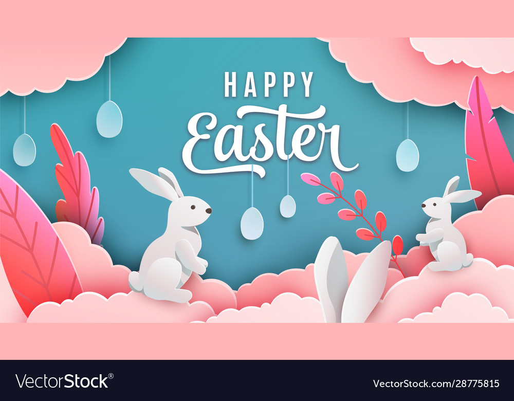 Happy easter banner background holiday greeting