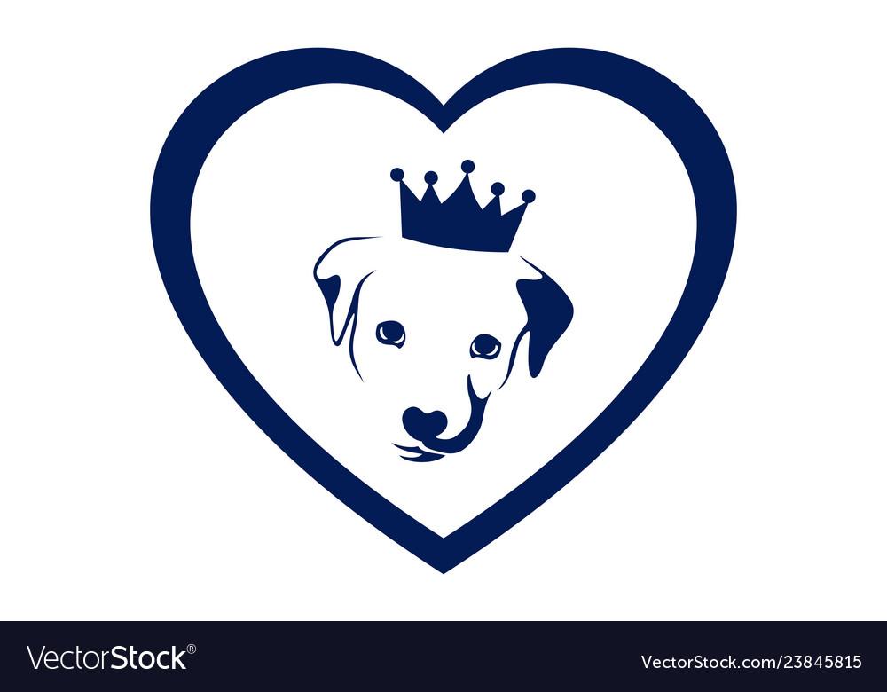 Love king dog concept logo icon