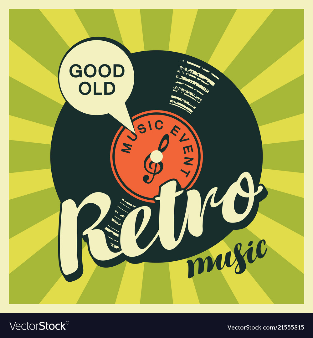 Music banner with vinyl record in retro style