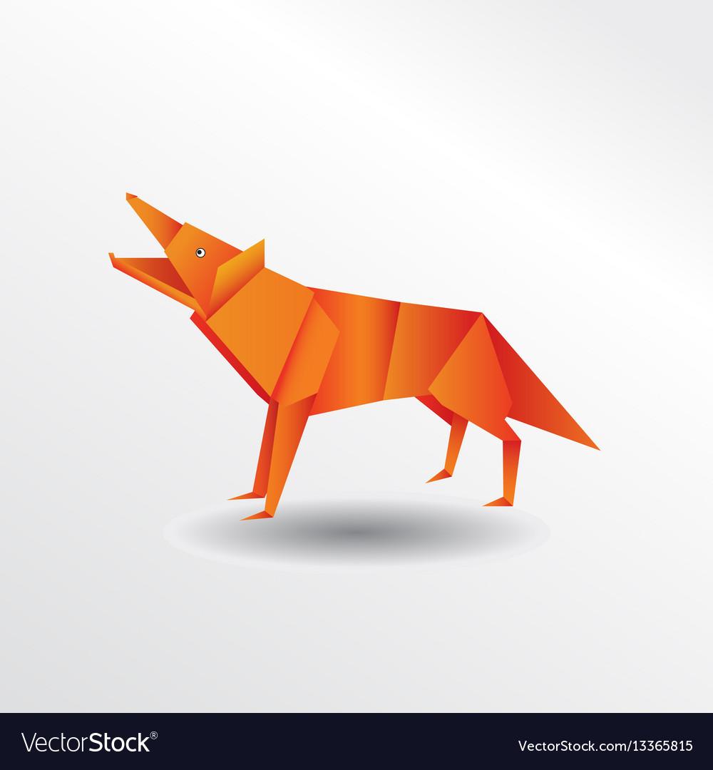 Origami Wolf Royalty Free Vector Image Vectorstock