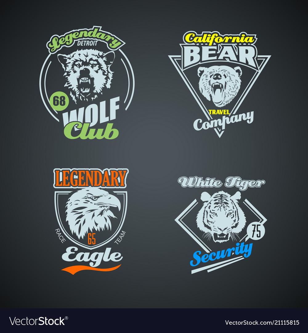 Set of vintage wild animal retro logos colored