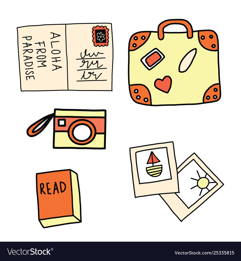 Set summer vacation icons postcard