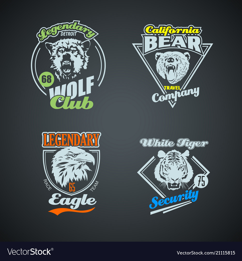 Set vintage wild animal retro logos colored