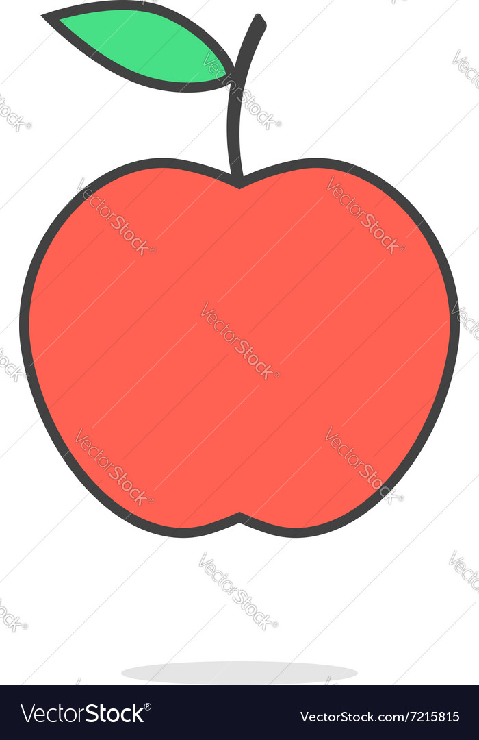 Simple red apple icon with shadow