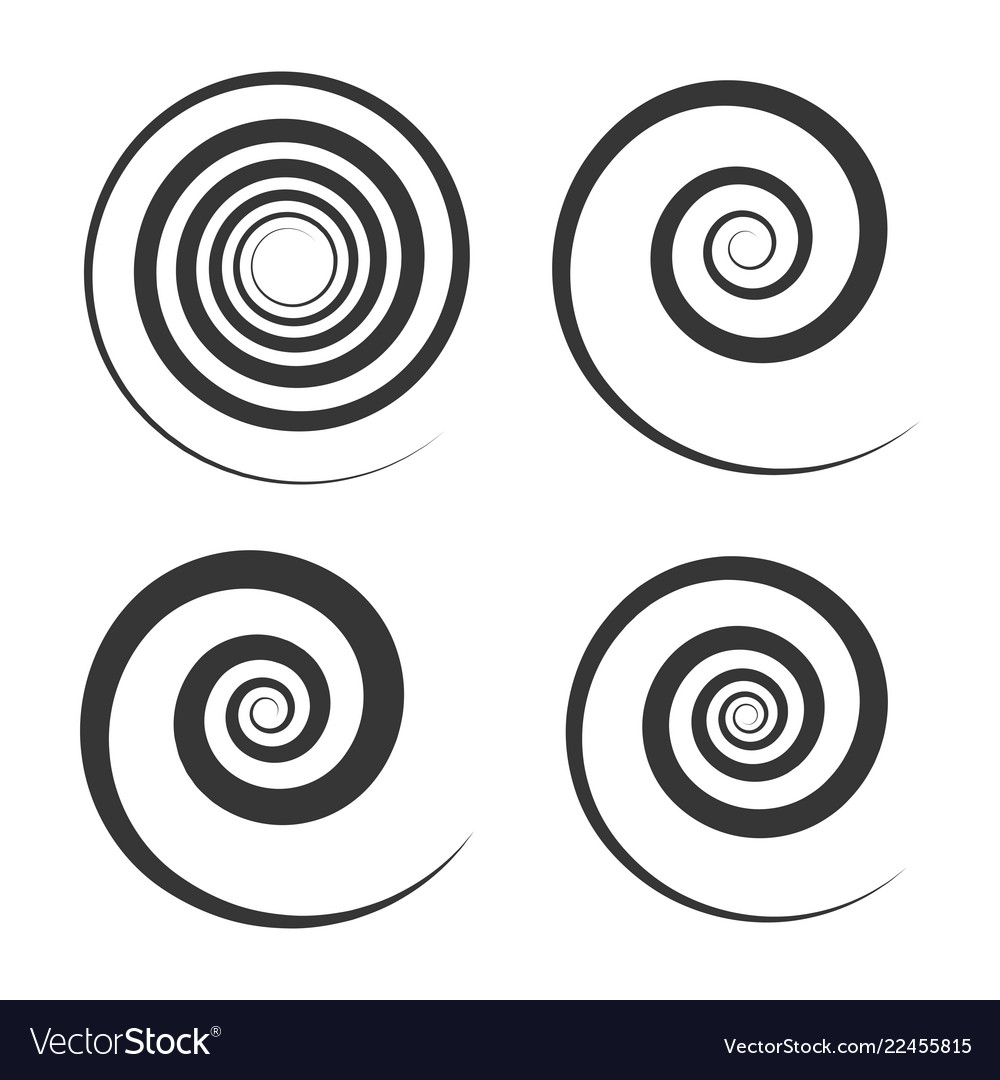 Spiral and swirl motion elements set on white