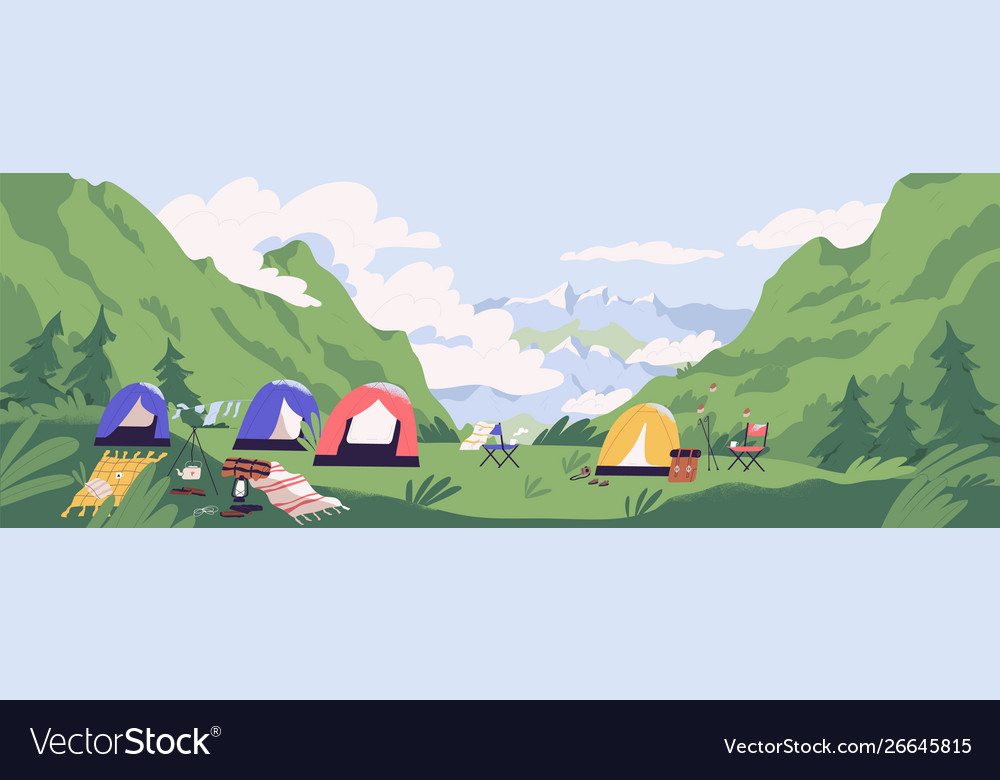 Touristic camp or campground with tents and