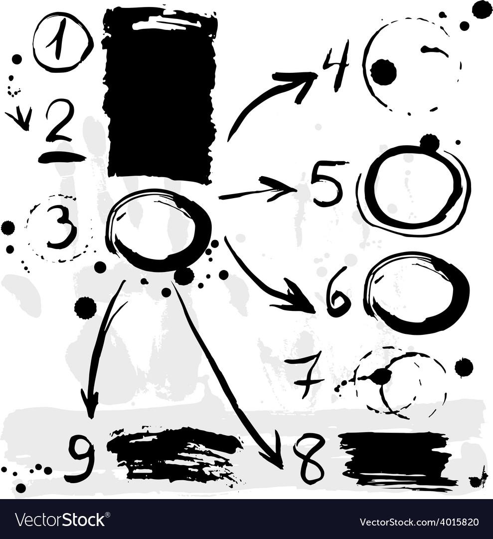 Brush strokes infographics options banner Black on