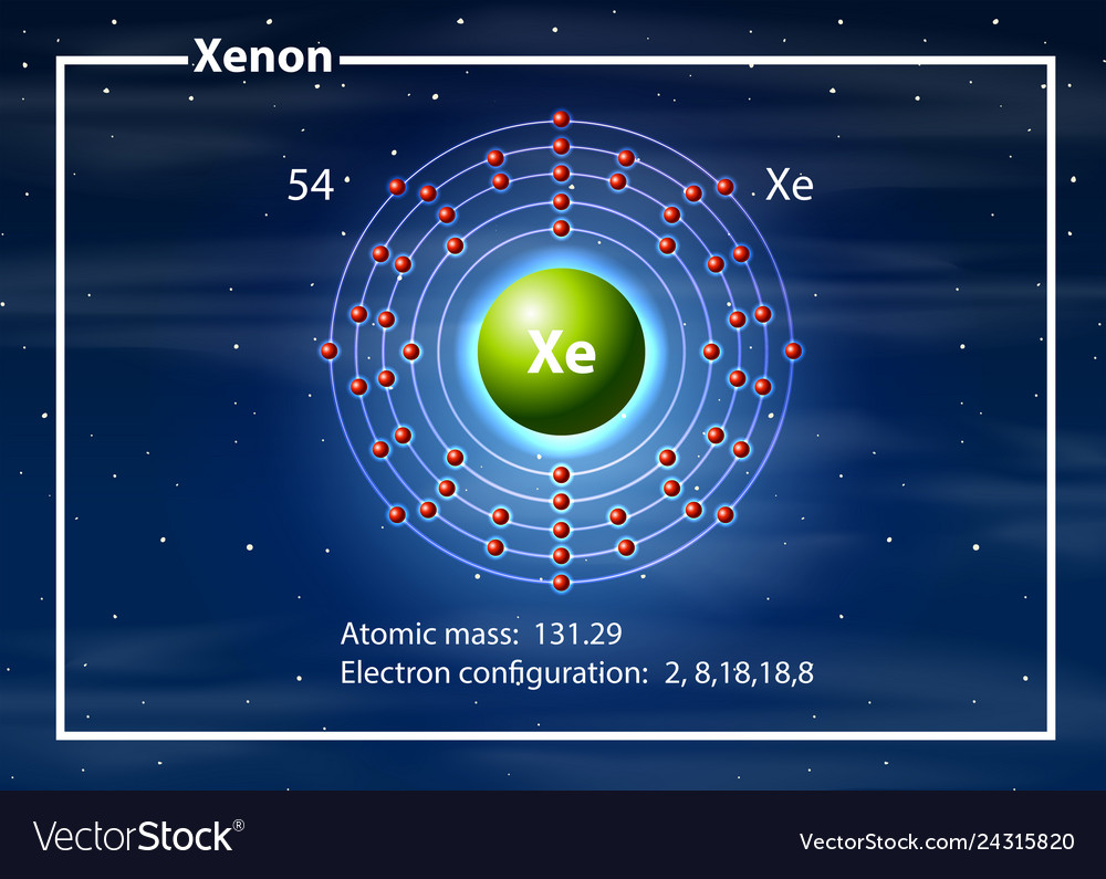 Chemist atom of xenon diagram vector image