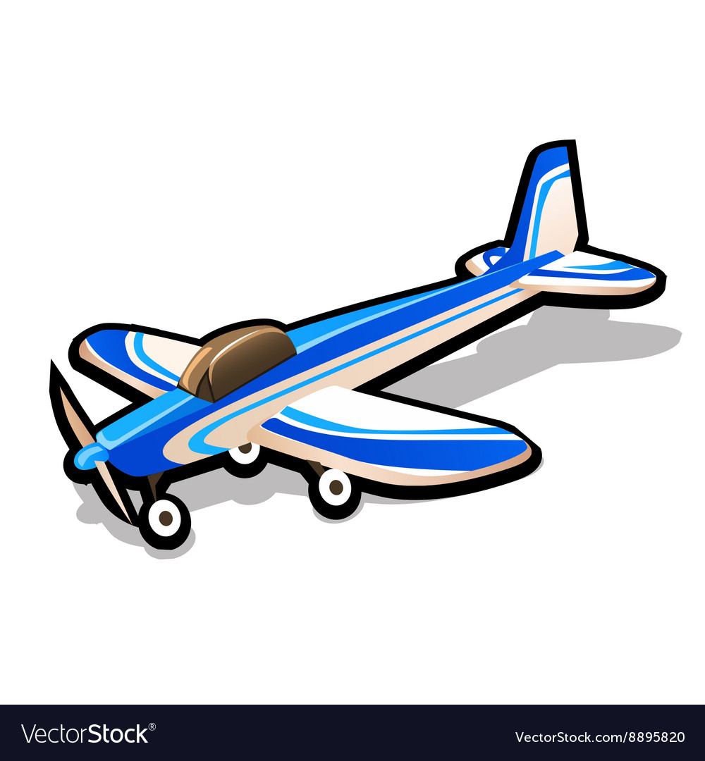 Childrens blue toy airplane on a white background vector image