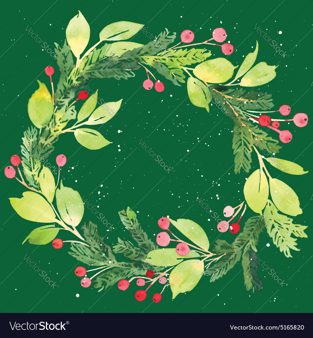 Christmas card Watercolor painting Royalty Free Vector Image
