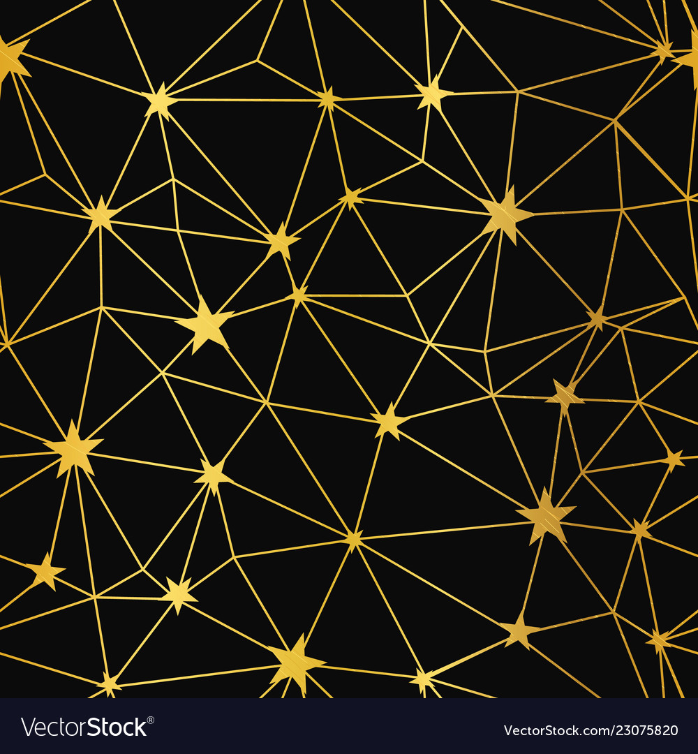 Gold black stars network seamless pattern
