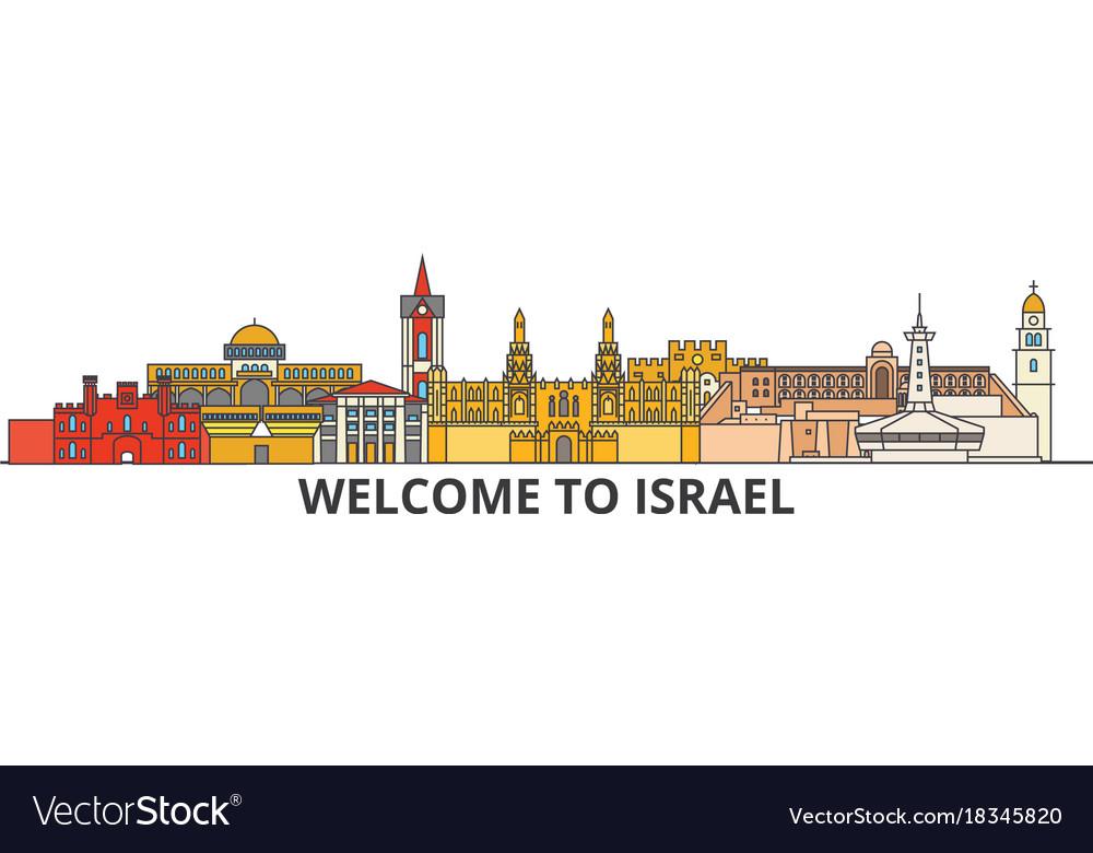 Israel outline skyline israeli flat thin line vector image