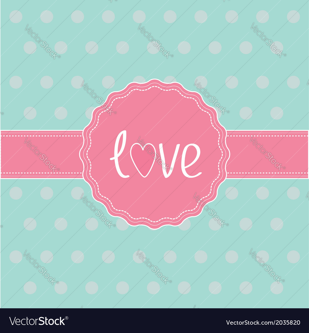 Pink label and ribbon Love card