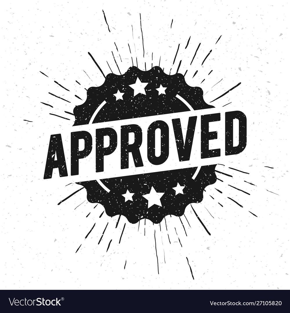 Round vintage grunge approved stamp