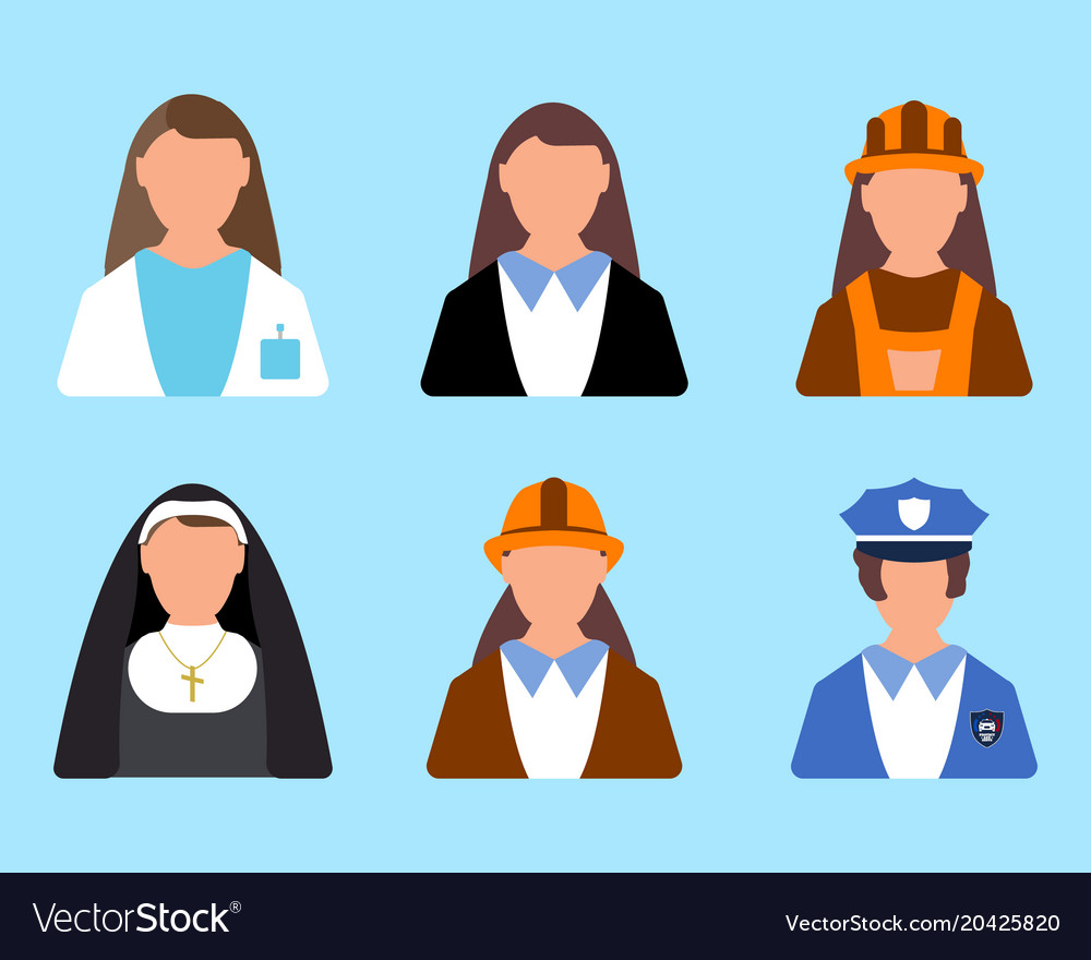 Set of character worker icon man and woman label