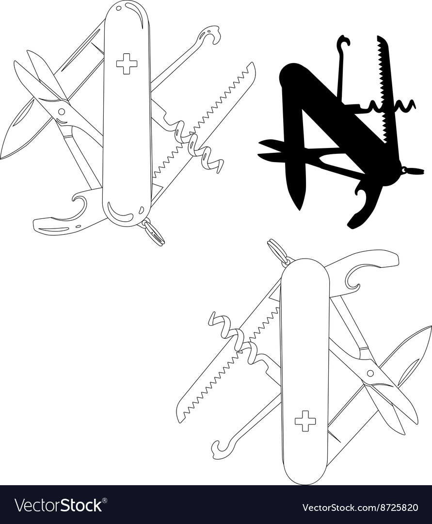Swiss army knife lineart vector image