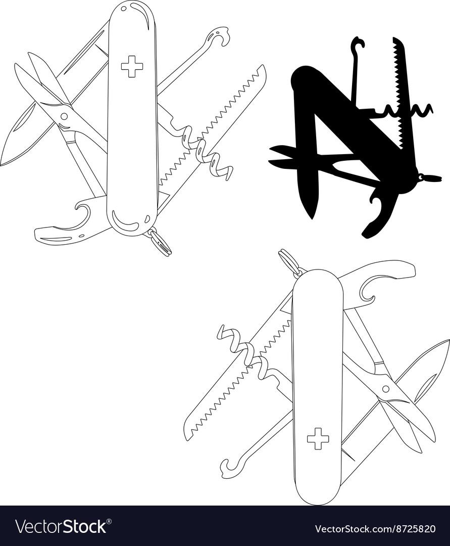 Swiss army knife lineart