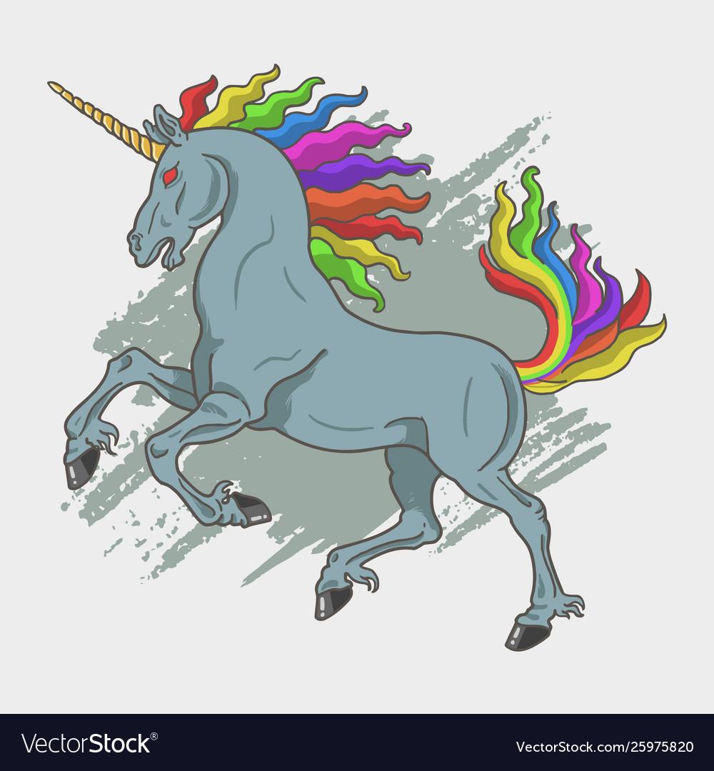 Wild unicorn with splash background