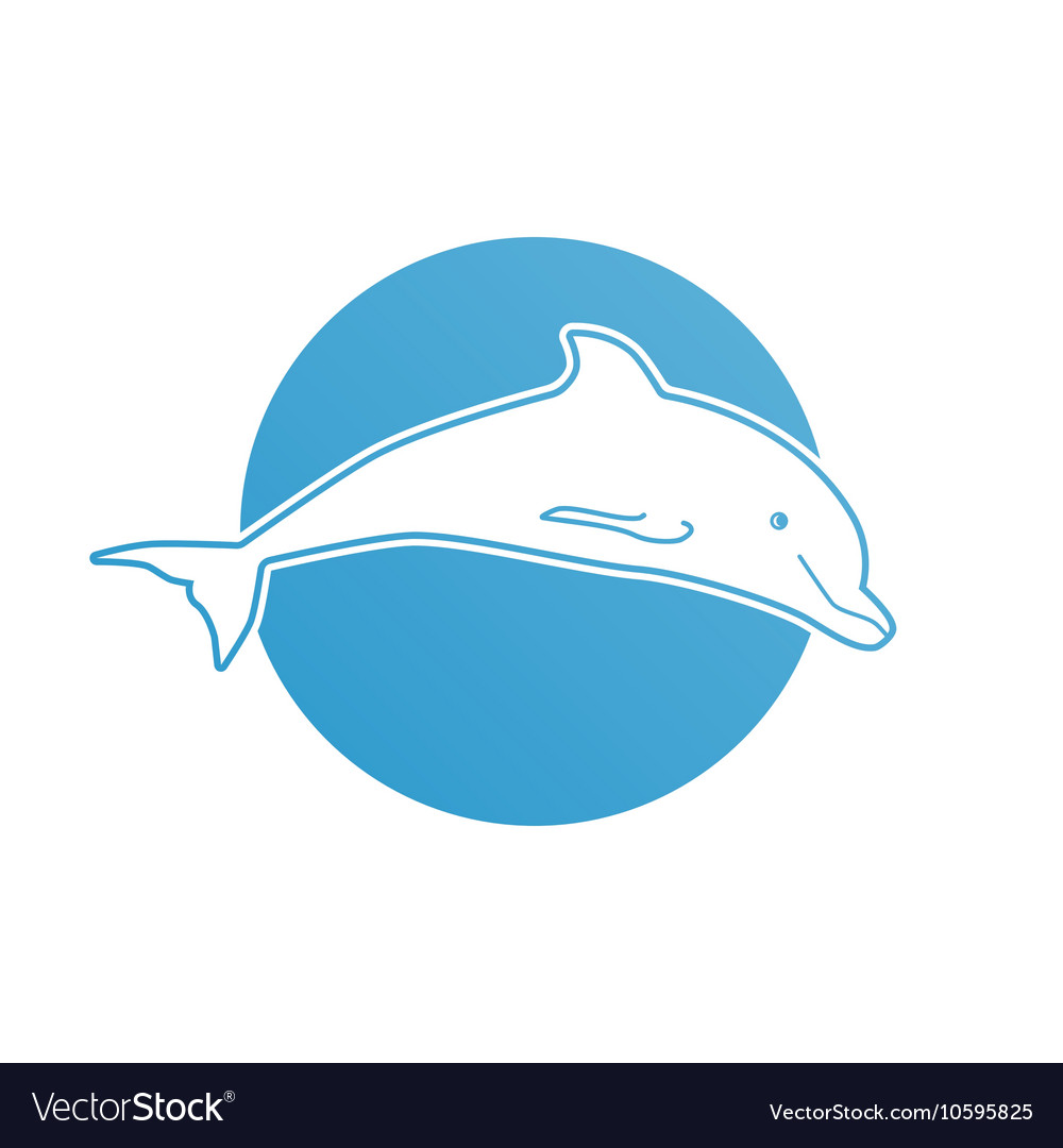 Blue flat logo dolphin for company and business
