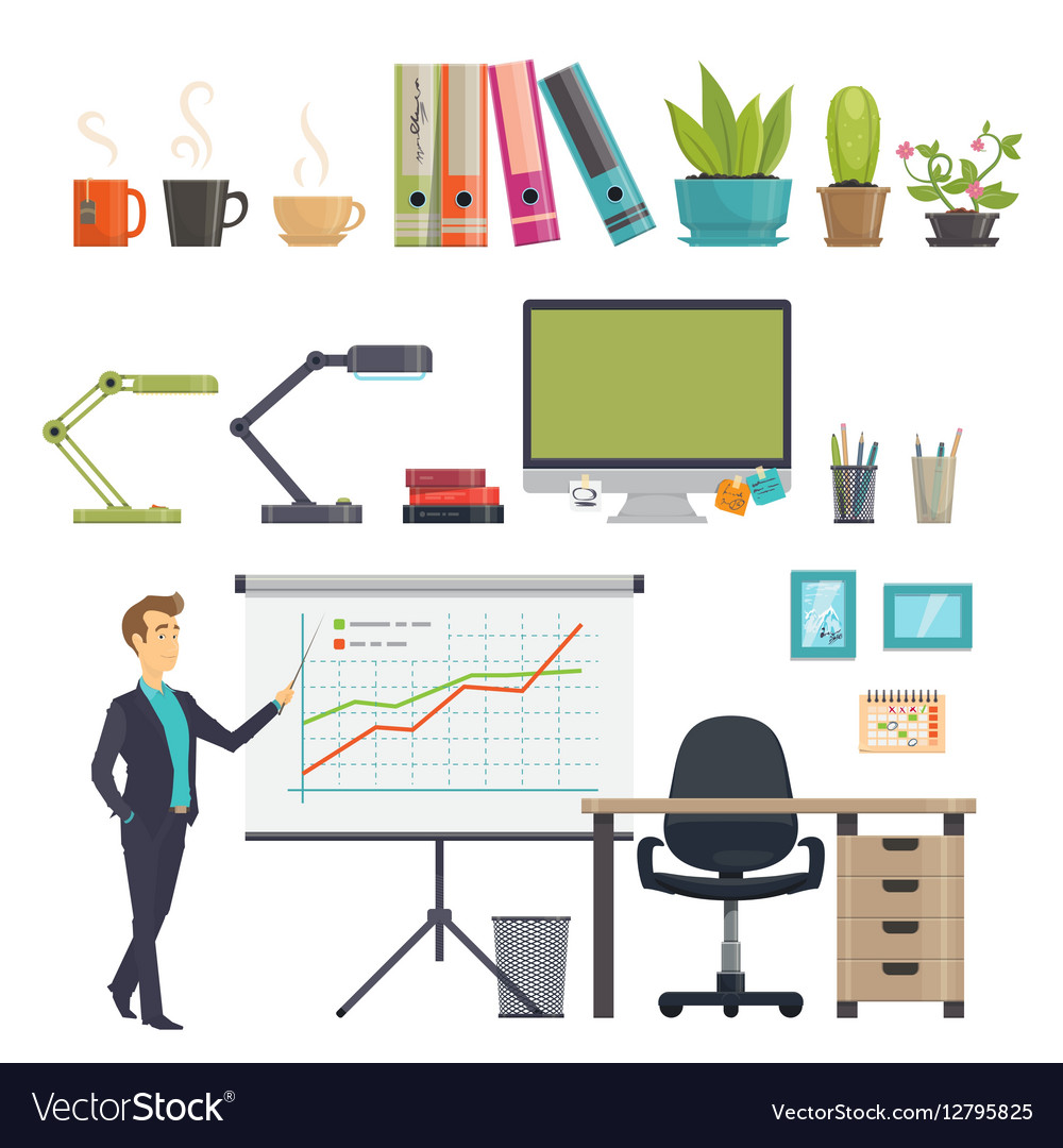 Colorful Business Workplace Icons Set