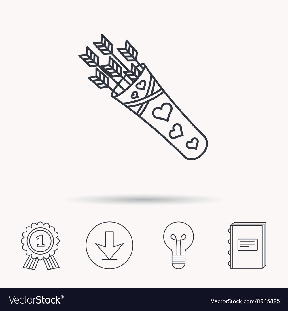 Cupid arrows icon Love weapon sign vector image