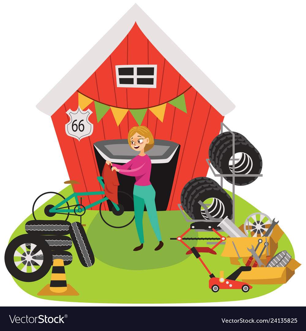Sell Car For Parts >> Garage Sale Woman Sell Used Car Parts Tires Vector Image