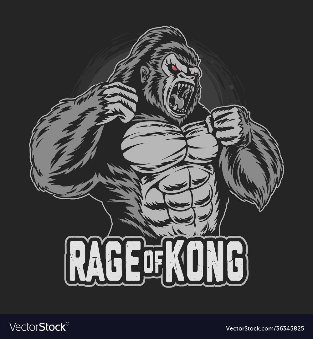 Gorilla kong gets angry and screams