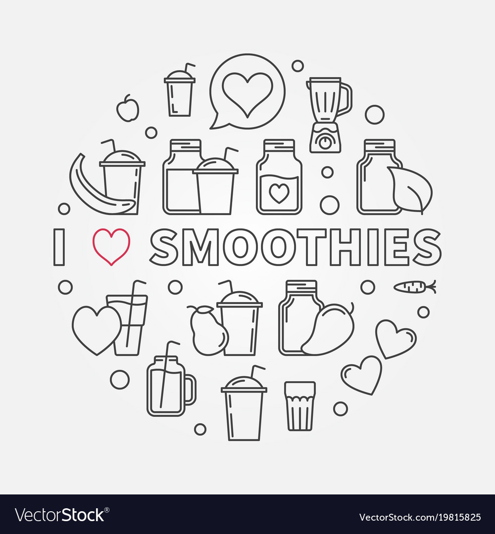 I love smoothies modern outline isolated