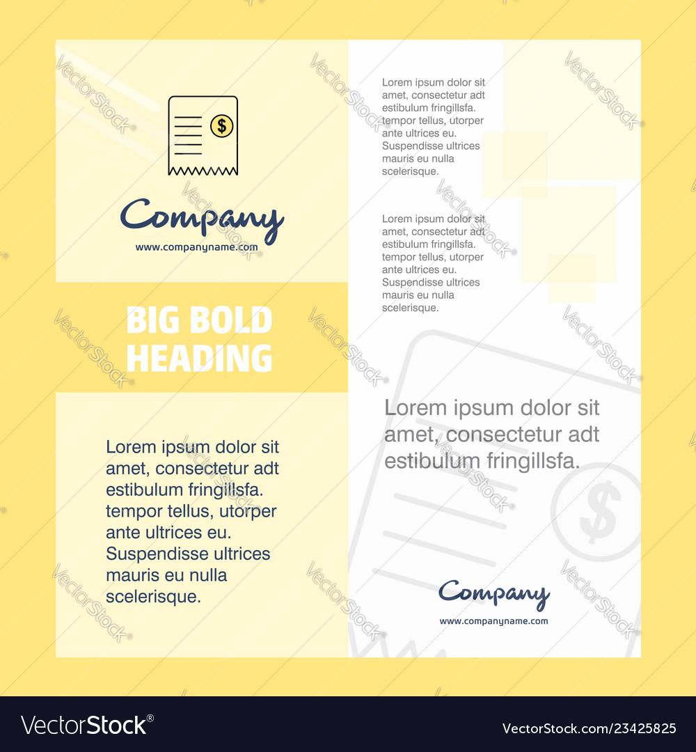 Invoice Company Brochure Title Page Design Vector Image