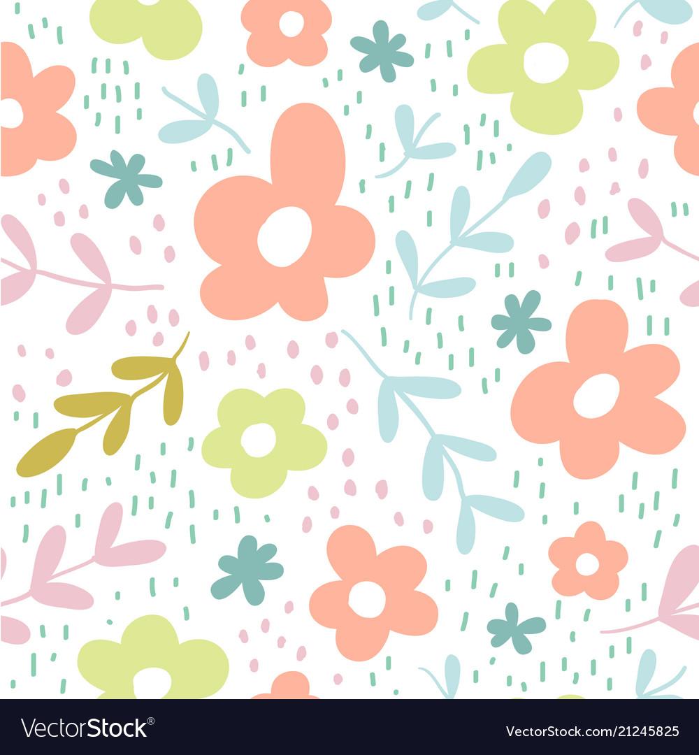 Seamless pattern with flowers scandinavian style