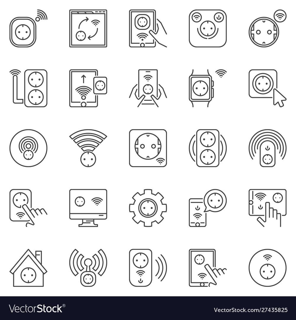 Smart socket outline icons set eu sockets