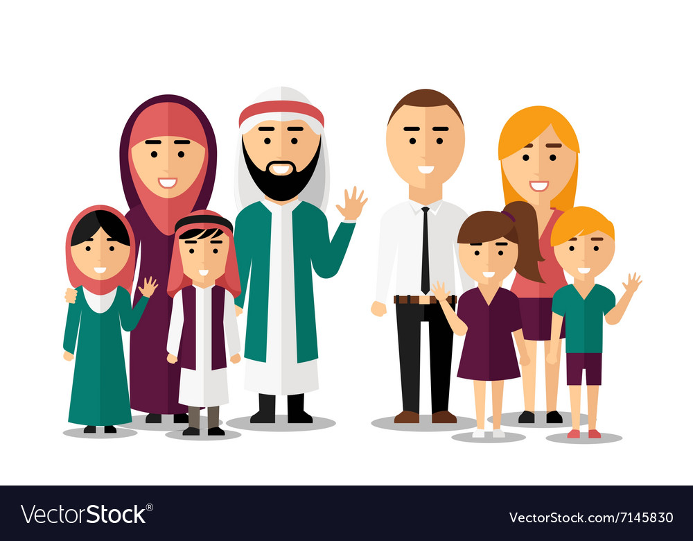 Arab and european happy families set of
