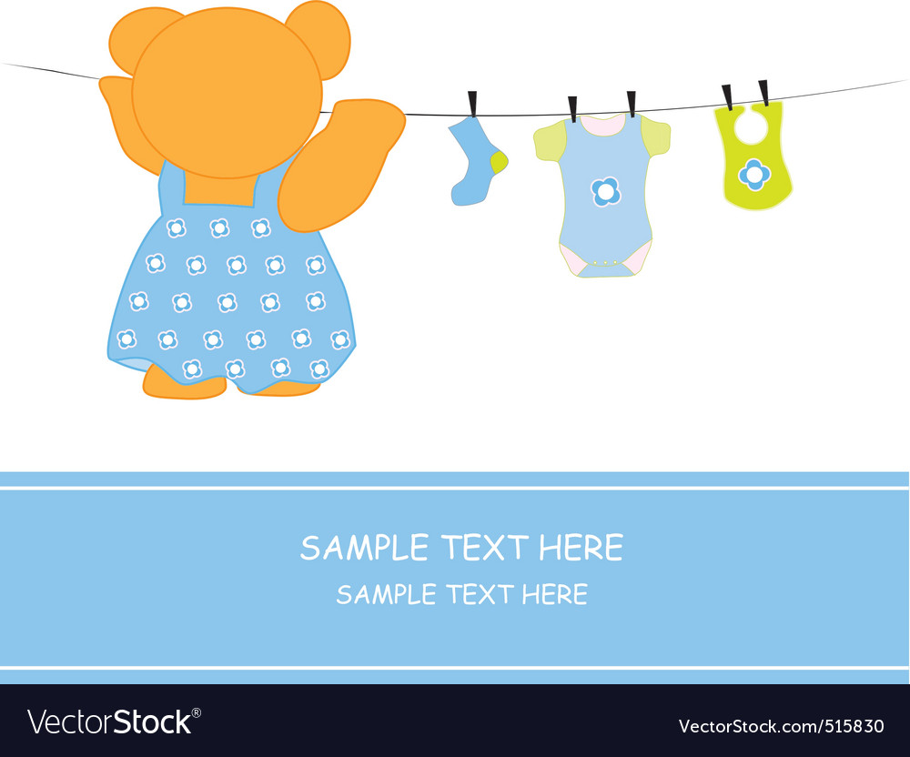 Bear hanging clothes blue